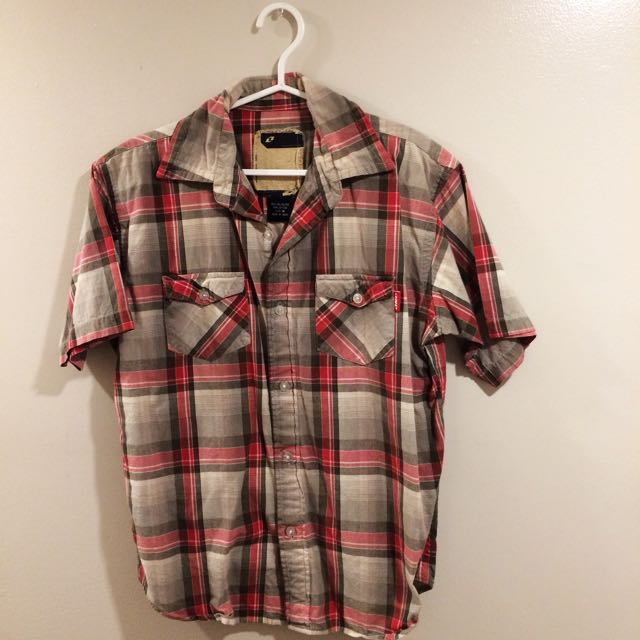 Red and gray Plaid button up