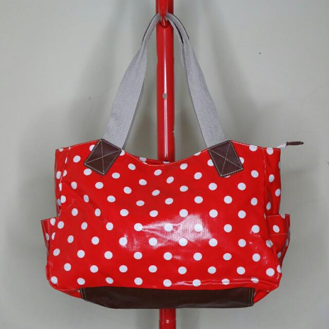 Retro Red & White Polkadot Tote Bag
