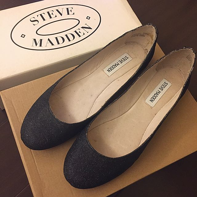 🉐️美國Steve Madden 黑色亮粉平底鞋