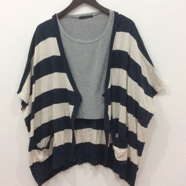 Stripes Navy White Cardigan Outer