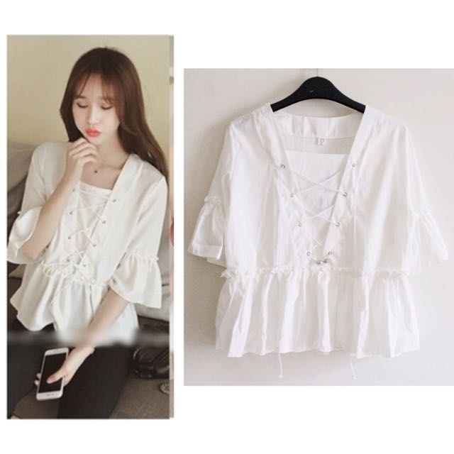 Tiep Top / Blouse White (putih) Import Korea