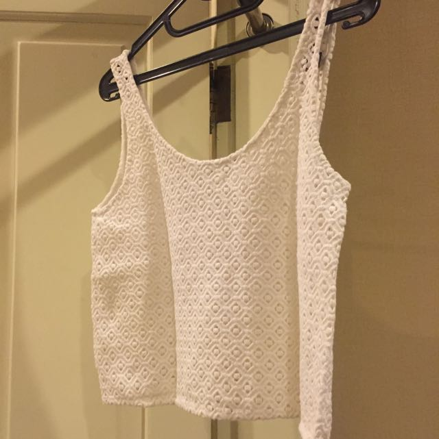Topshop White Detailed Cropped Tank Top