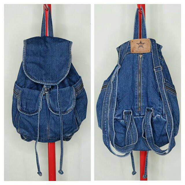 Vintage Blue Denim Back Pack