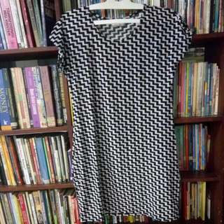MINI DRESS WITH POCKET BLACK AND WHITE