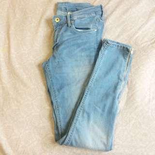 H&M blue Jeans W/bottom Zipper Sz 30