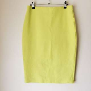 Valleygirl 'Neon Yellow Midi Pencil Skirt'