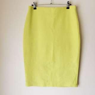 Valleygirl 'Neon Yellow Midi Pencil Skirt'