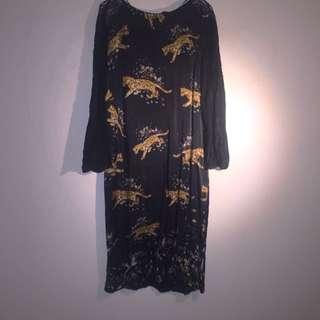 Zara diamond Leopard Silk Dress size S