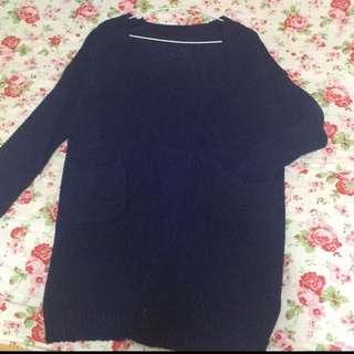 深藍色 針織長版毛衣 #雙十一女裝出清
