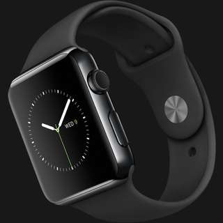 Apple Watch 42mm Space Black Stainless Steel with Black Sports Band (First Generation)