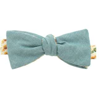 General Knot & Co Sage Chambray / 1930's Desert Bloom Bow Tie