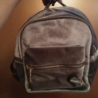 ON HOLD Grey Velvet Back Pack