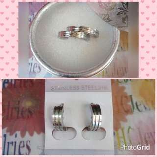 Stainless Couple Band Ring With FREE Clip Type Earrings