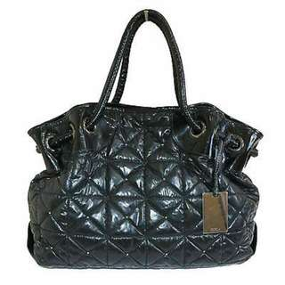 FURLA CARMEN GRANDE ONYX QUILTED LEATHER TOTE BAG