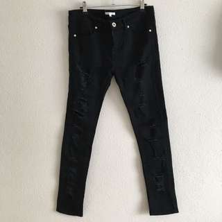VALLEYGIRL Black Distressed Skinny Jeans