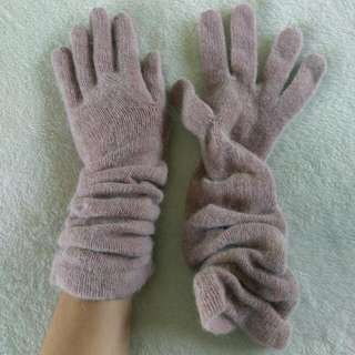 Set Of Fluffy Pink Gloves