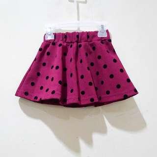 Burgundy Polkadot Skirt