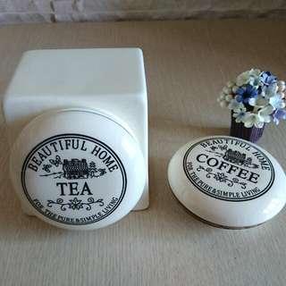 🚚 陶瓷製咖啡/茶密封罐🍯 COFFEE/TEA/鄉村風/歐風🍯【整組】或加購【蓋】