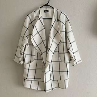 DOTTI Wide Lapel White Grid Coat