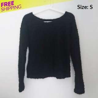 Furry Black Sweater Top Blouse