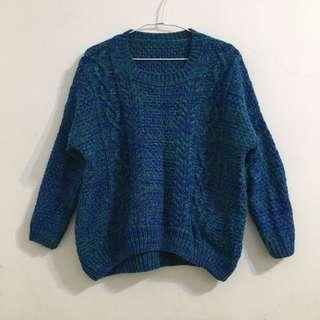 (保留)藍綠色混織粗針織麻花毛衣