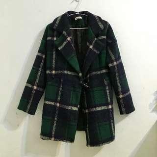 墨綠色格紋毛料大衣外套(有瑕疵)