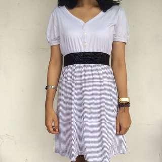Stripe White Dress