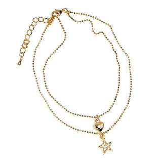 Gold Plated Star And Heart Anklet With Czech Crystals
