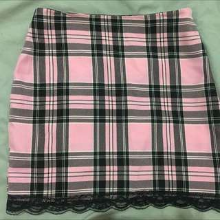 Kawaii Tartan Skirt Clueless Pink