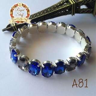 Gelang Fashion / Gelang Pesta Rhinestone Blue Grey - A81