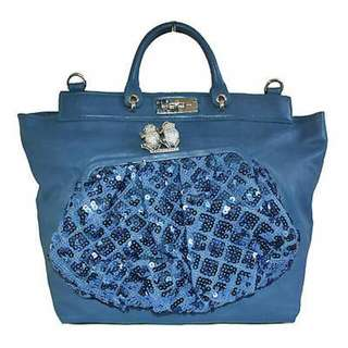 """MARC JACOBS BLUE SEQUINED """"DUFFY"""" FROG LEATHER HAND BAG"""
