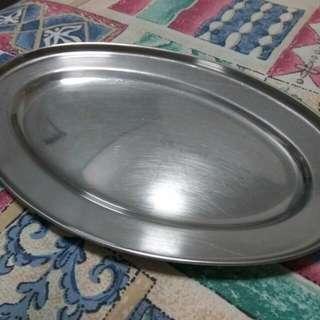 Elliptical stainless Steel Plate 25cm x 16cm (A Set of 7PCs)