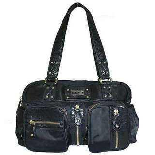 DKNY BLACK NYLON & LEATHER TOTE BAG WITH ZIPPER DETAIL