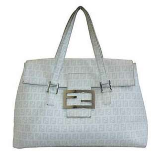 FENDI ZUCCHINO IVORY CLASSIC MONOGRAM SATCHEL BAG With Serial Number And Authentication Sticker