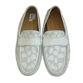 EMPORIO ARMANI IVORY PERFORATED LEATHER LOAFERS