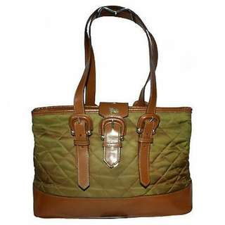 BURBERRY PRORSUM BROWN AND GREEN TOTE BAG