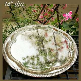 Vintage Stainless Steel Serving Tray with Engraved Pattern. Special offer $10 Each. Unused Old Stock, Ok condition as fit for use.  Sms 96337309 for fast deal ! JVAA OPEN HOUSE tomoro Thurs 15th DEC 1-4.30pm.😄🎊🎉☎