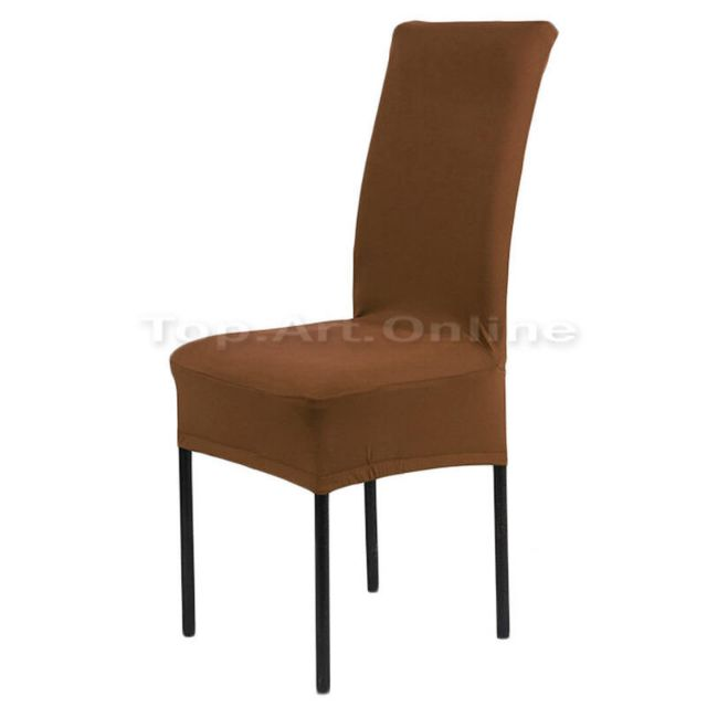 Fantastic 2X Dining Chair Covers Stretch Spandex Coffee Brown Slipcover Chairs Protector Gmtry Best Dining Table And Chair Ideas Images Gmtryco