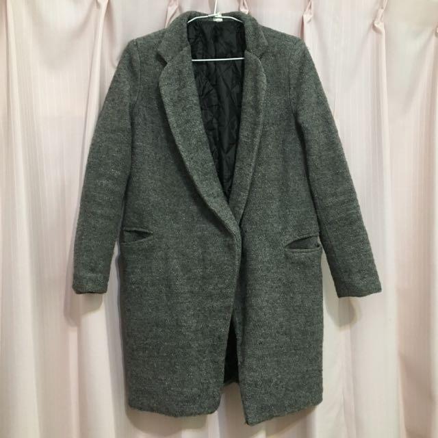 (保留)灰色混織材質鋪棉大衣外套
