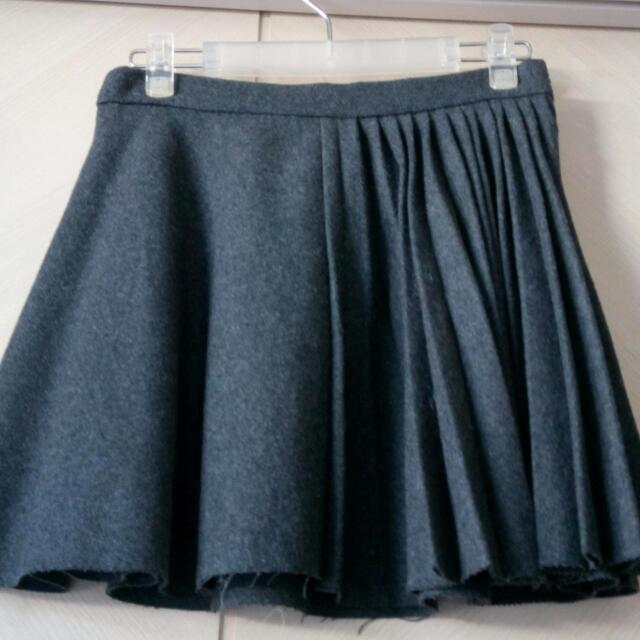 毛料百折造型段裙