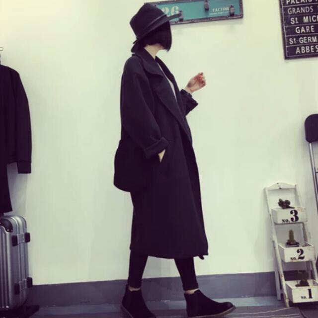 含運 韓版黑色大衣