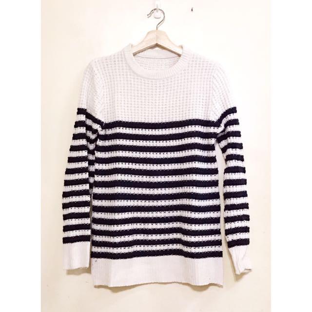 (二手-少穿)黑白條紋針織毛衣