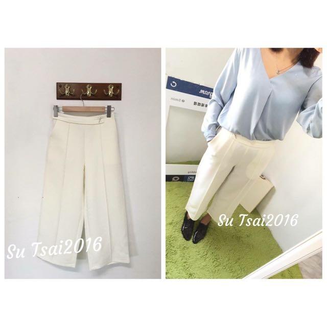 西裝銀釦寬褲