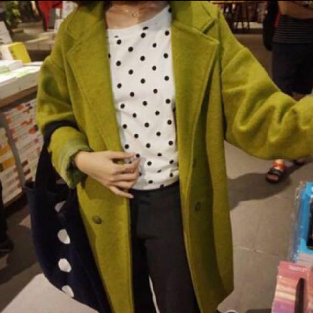 秋冬必備/芥末綠長版大衣/超好看