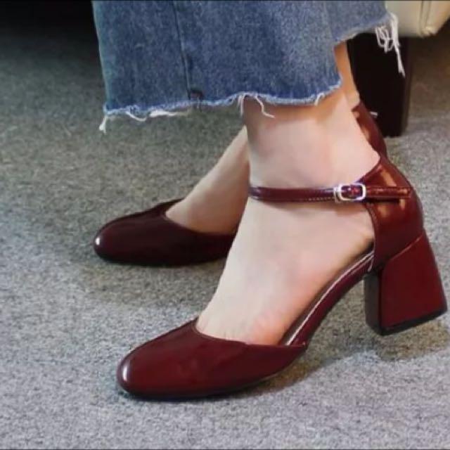 全新 37號 韓國 馬蹄跟 高跟 鞋