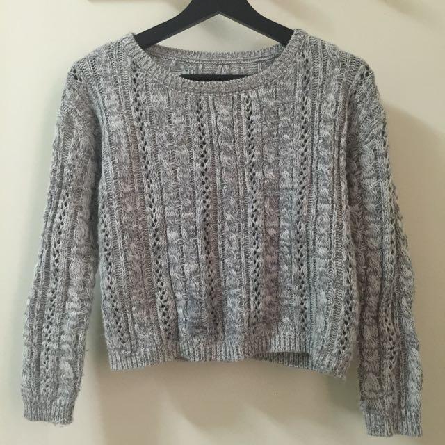 麻花針織淺灰色毛衣 實品拍攝