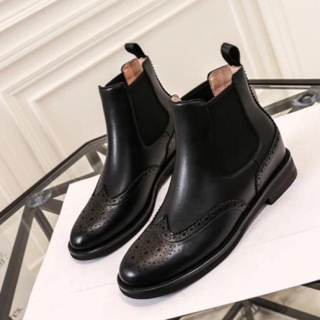 全新 秋冬新款 內增高英倫 簡約短靴 黑