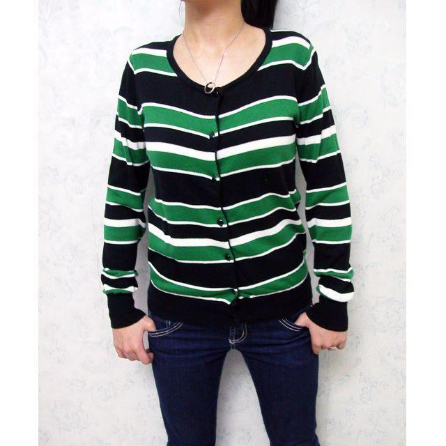 街頭風格 黑色 綠色 白色 帥氣率性條紋開襟針織外套