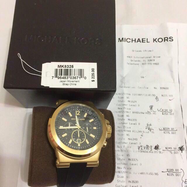5c866cc2468c 美國自帶附證明超美Michael Kors MK8325 48mm 三眼計時金色潮錶全新