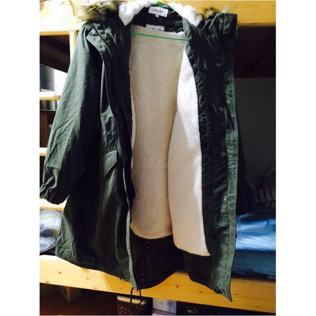 日本 globalwork 內鋪毛腰抽繩軍綠大衣外套